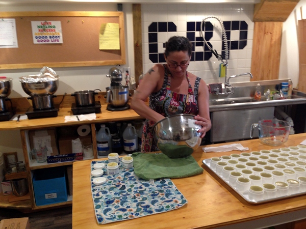 Good Body Products founder Trish Thomas making salves in Vermont.